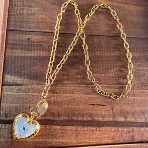 Costume heart watch necklace